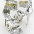 Celeste strappy rhinestone evening party prom 5 inch high heel platform sandals silver size 8