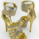 Celeste strappy rhinestone evening party prom 5 inch high heel platform sandals gold size 7.5