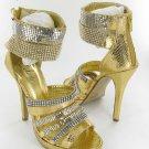 Celeste strappy rhinestone evening party prom 5 inch high heel platform sandals gold size 8