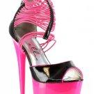 Ellie 609-Adore elastic band 6 inch stiletto high heel sandals women's shoe neon pink size 6