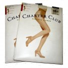 Lot 2 pair Charter Club French cut silky sheer classic nudes pantyhose light 2 vanilla size A
