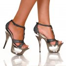 T-strap evening prom dance platform 6 inch heels rhinestones pewter glitter shoe size 6