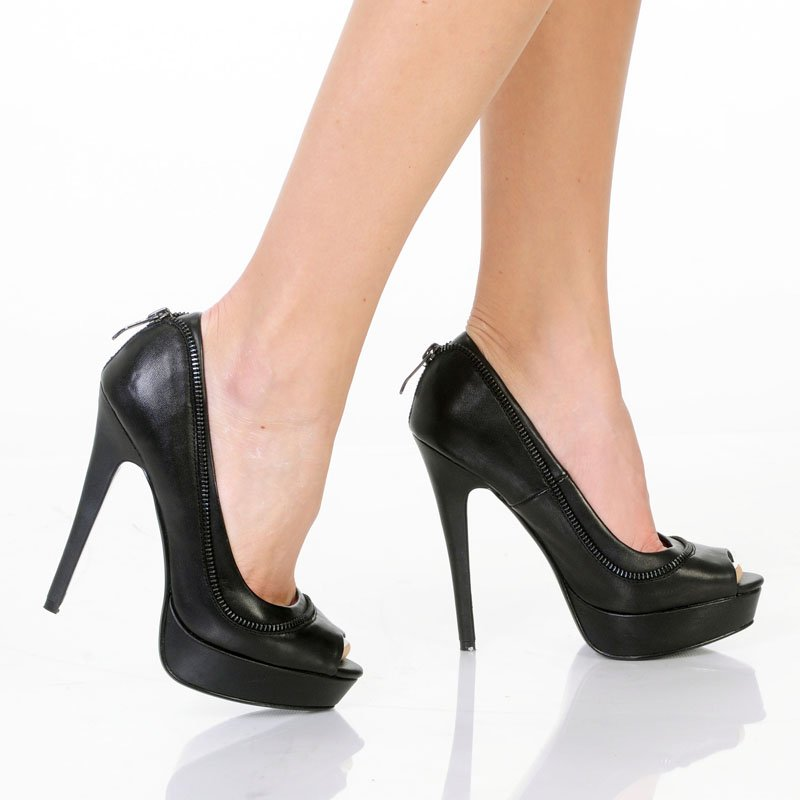 Highest Heel Foxy-31 platform open toe top zipper 5.25 inch heels pumps black size 9