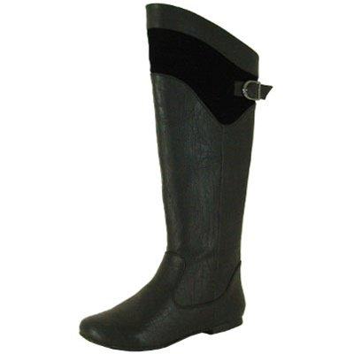 Qupid women's knee fashion boots low heel flats side zipper faux leather black size 6.5