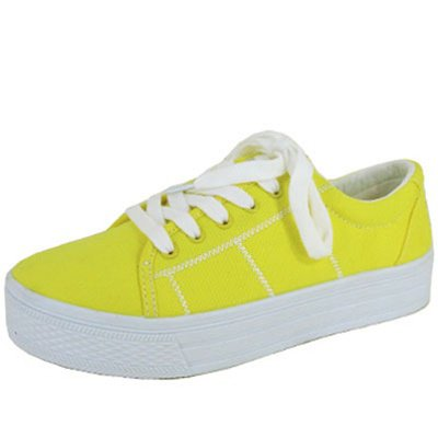 Qupid size 6.5 women's flats low top canvas fashion sneakers comfort shoes neon yellow