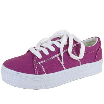 Qupid size 6.5 women's flats low top canvas fashion sneakers comfort shoes magenta