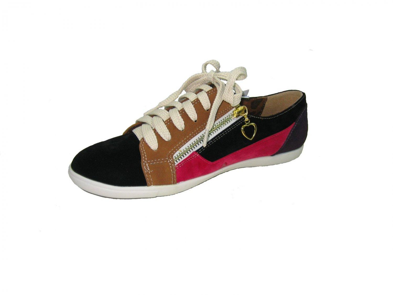 Nature breeze size 6.5 fashion sneakers women's decorative zippers black multi color