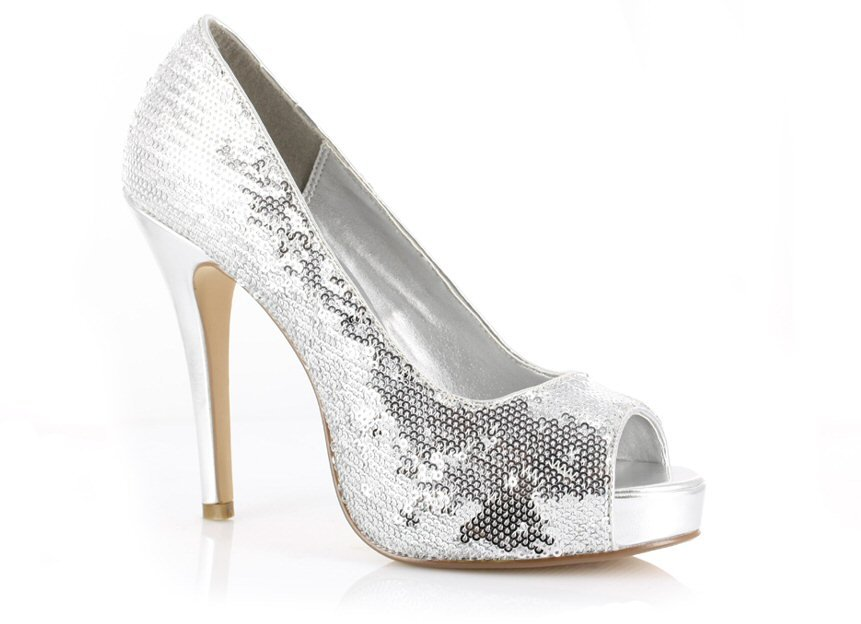 Ellie 415-Flamingo 4.5 inch platform open toe sequin glitter pumps silver size 7