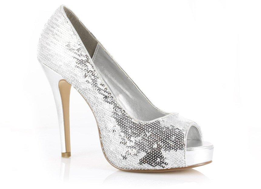 Ellie 415-Flamingo 4.5 inch platform open toe sequin glitter pumps silver size 8