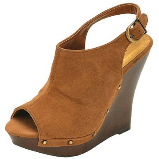 Qupid Loraine-19 open toe platform wedge faux suede slingback pumps camel size 6.5
