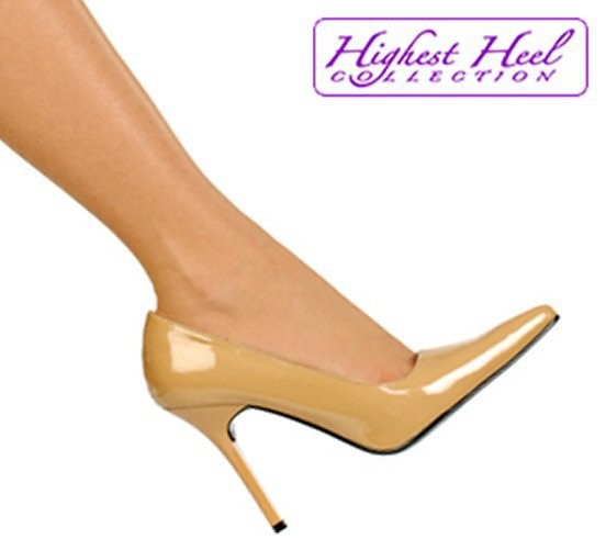 Highest Heel Collection classic pumps 4 inch stiletto high heels shoes nude patent size 9
