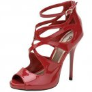 Qupid Demand-216 strappy sandals 5 inch stiletto high heel shoes red patent size 6.5