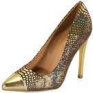 Qupid Solo-03 4.5 inch high heel pumps gold snake hologram dance party prom shoes size 8