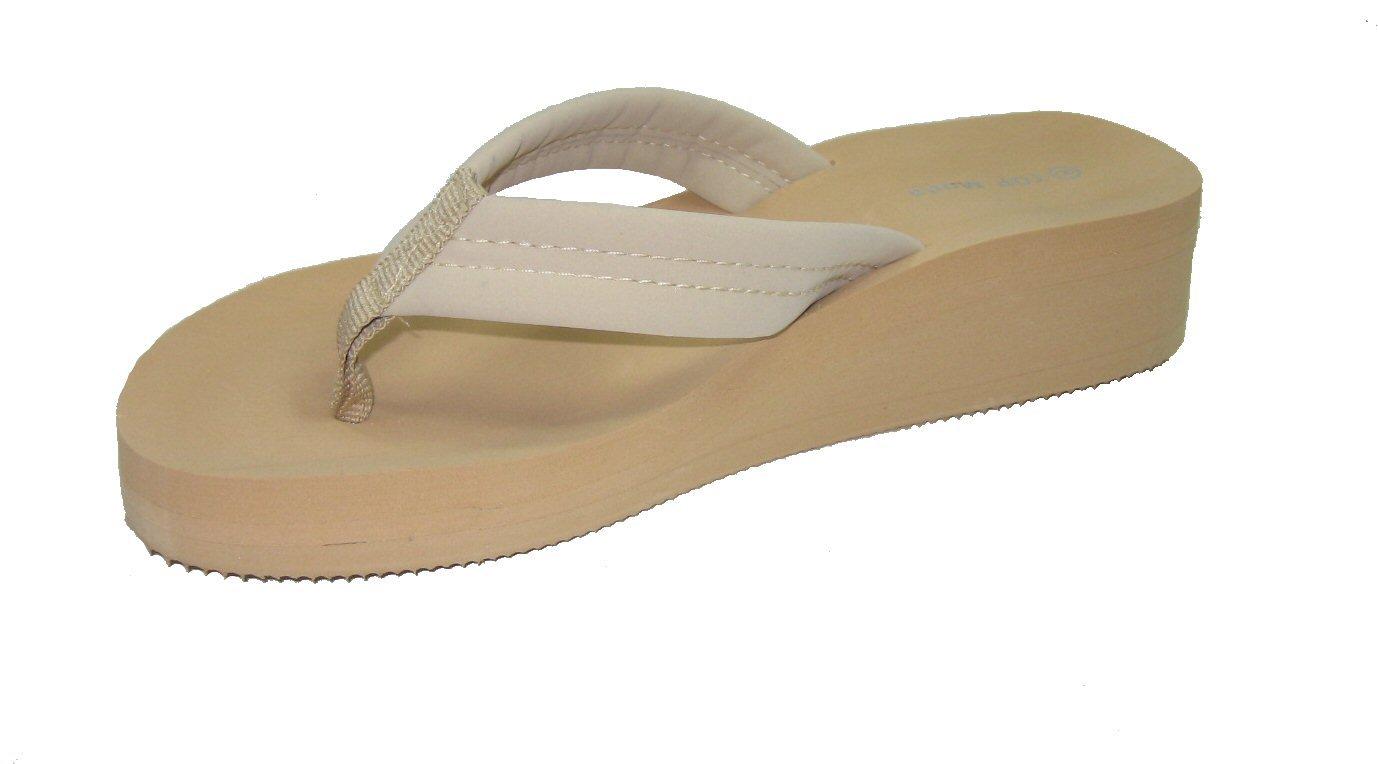 Top Moda TG-5 lightweight platform EVA foam flip flops thong beach sandals beige size 7