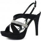 Marichi Mani Jealyn-72 platform 4.75 inch heel glitter rhinestone black prom sandals size 6
