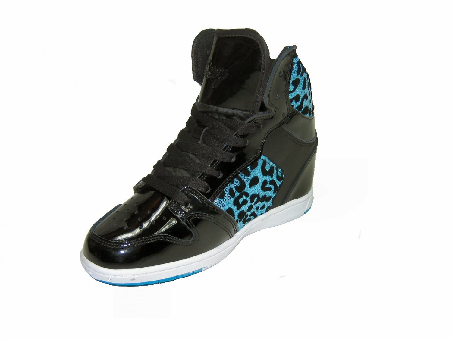 Pastry Glam Pie women's athletic lace up high top hidden 3 inch wedge sneakers black blue size 6.5