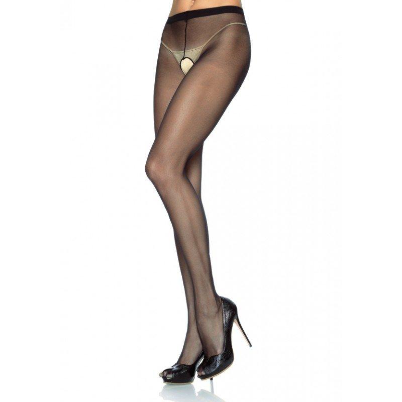 Leg Avenue 1905Q sheer crotchless pantyhose black plus size, 1x-3x.
