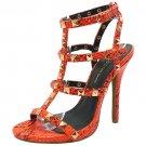 Wild Diva Bridget-74 sexy 5 inch stiletto high heel rock stud sandals orange snake size 5.5