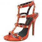 Wild Diva Bridget-74 sexy 5 inch stiletto high heel rock stud sandals orange snake size 7