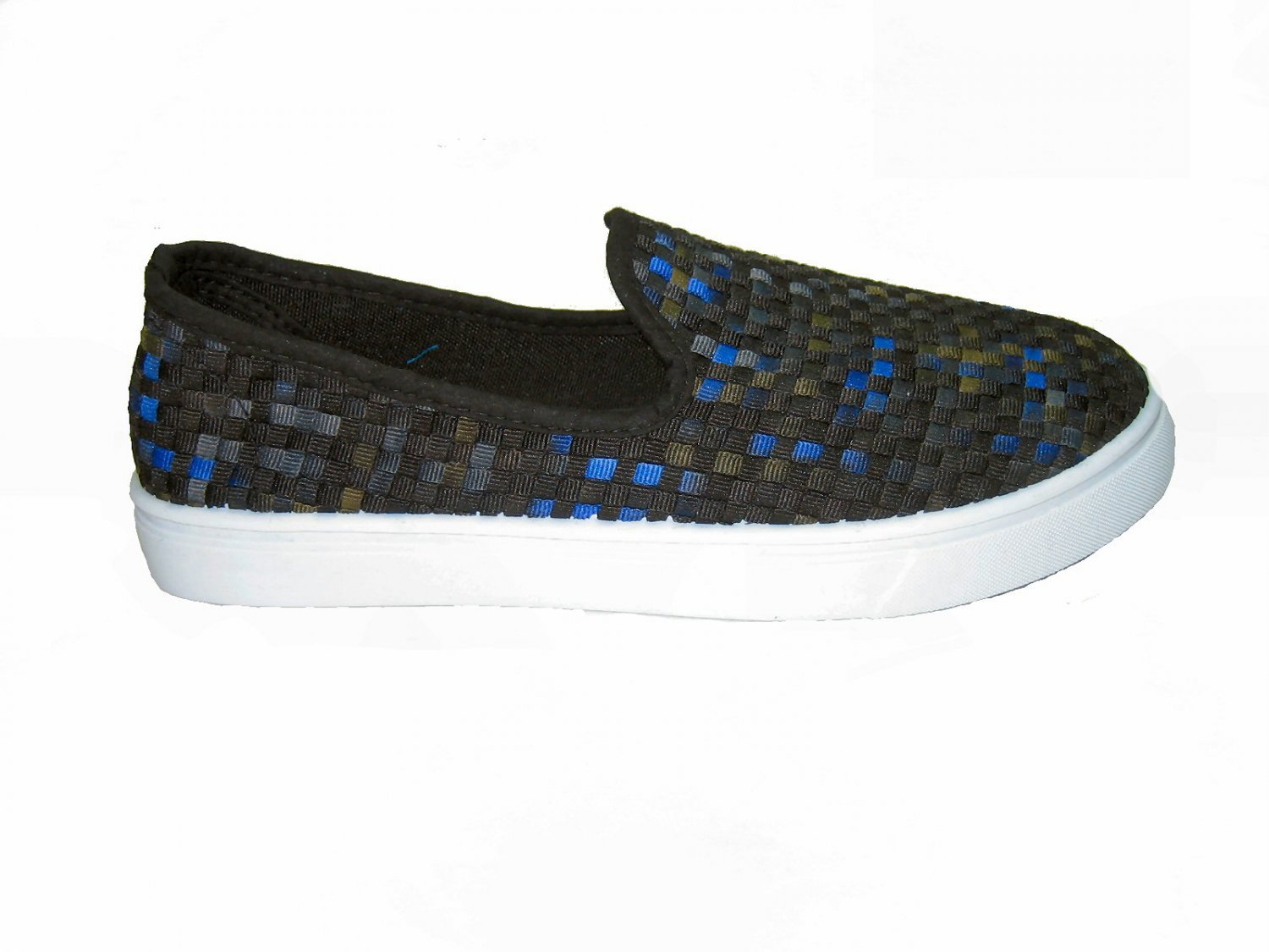 Top Moda AD-53 women's vegan slip on sneakers comfort flats shoes weave pattern black multi size 9