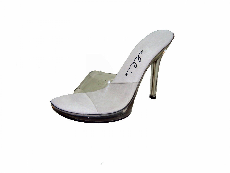 Ellie 502-vanity platform slides mules 5 inch heel sandals clear vinyl size 9
