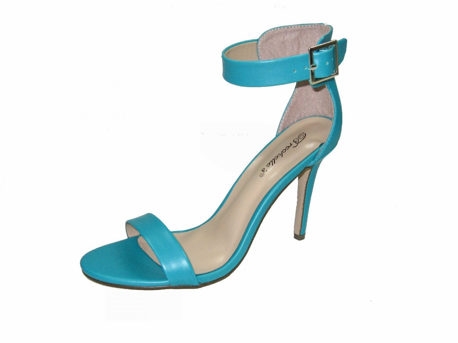 Breckelle's Sydney-31 strappy 4 inch stiletto heel sandals shoes aqua size 7