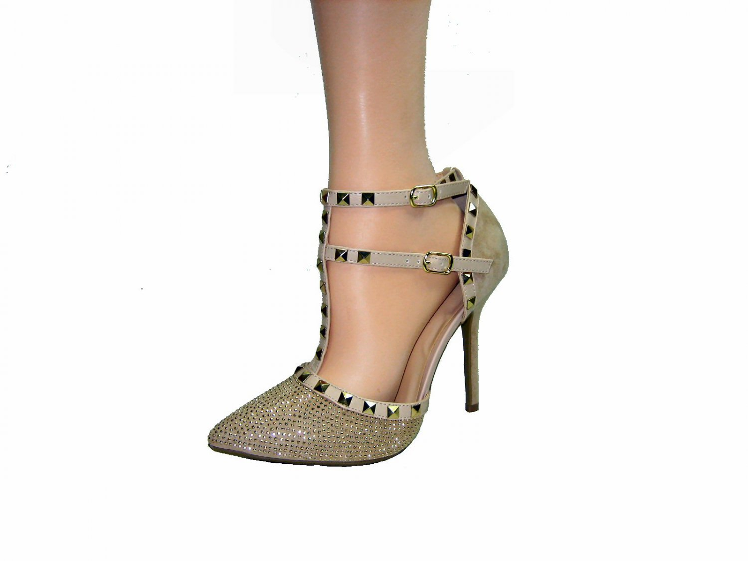 Wild Diva Adora-64C strappy rock stud 4.5 inch stiletto sparkly toe v-suede gold pumps size 8.5