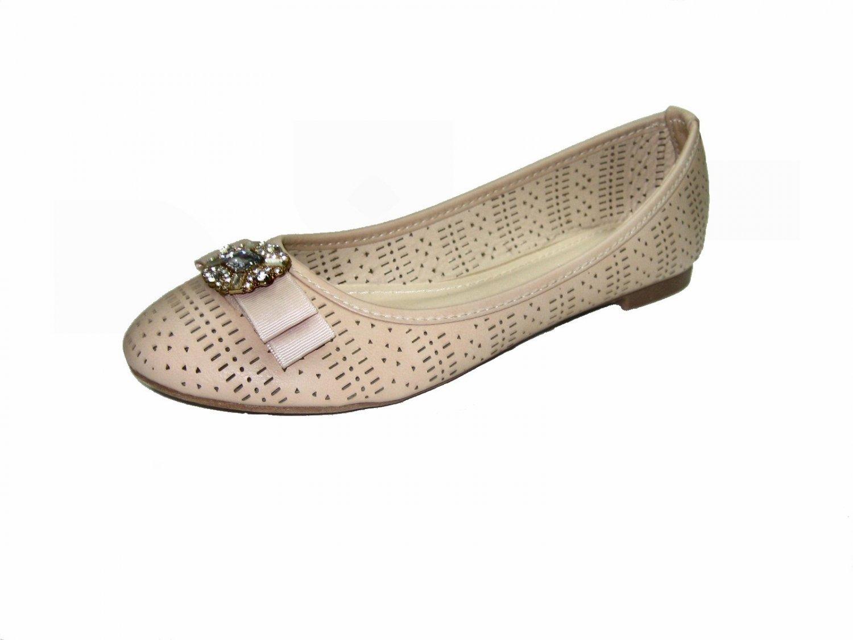 Top Moda SB-25 ballerina flats slip on pumps rhinestone bejeweled bow toe shoes beige size 5.5