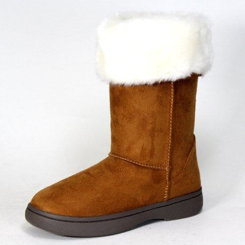 Bamboo Tahoe-15 women's vegan faux suede fur trim Eskimo mukluk boots chestnut size 10