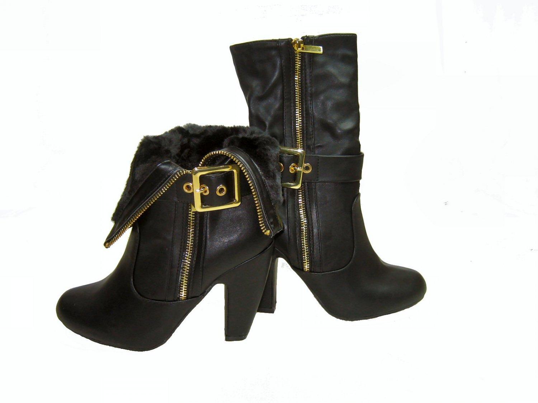 Bamboo Mozza-14 women's high heel vegan ankle boots faux fur lining zipper black size 8.5