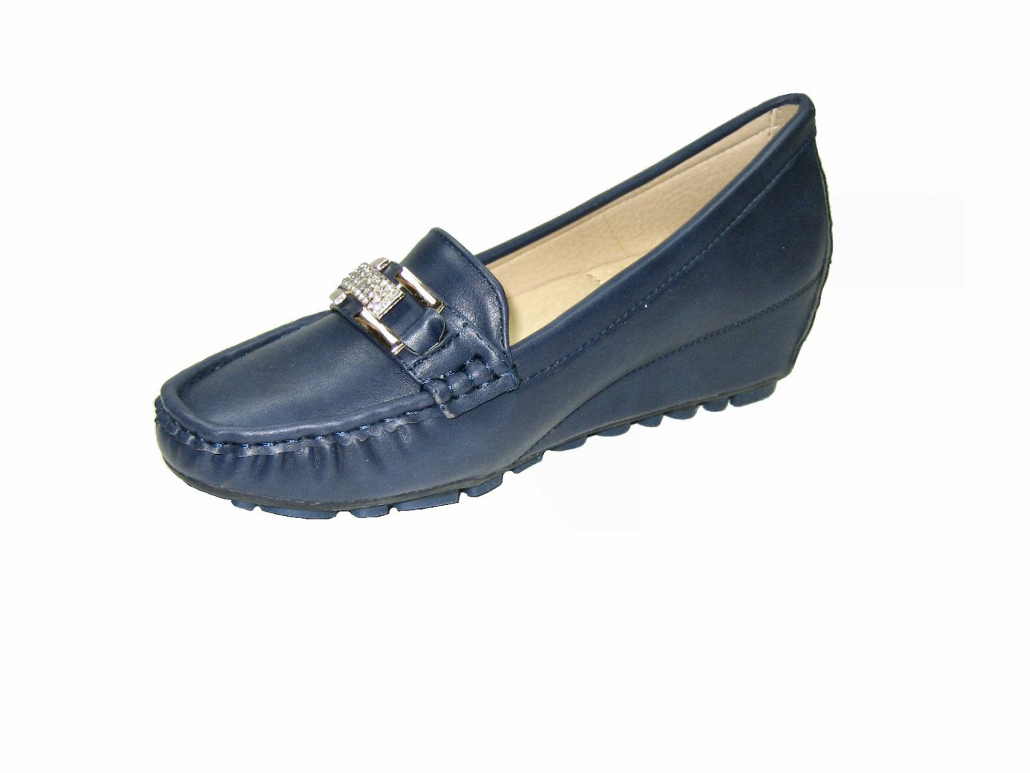 Nature Breeze SouthBay-2p 2 inch wedge heel comfort loafer rhinestone pumps shoe navy size 7.5