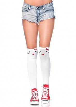 Leg Avenue 6921 ladies cotton blend goodbye kitty knee highs white one size