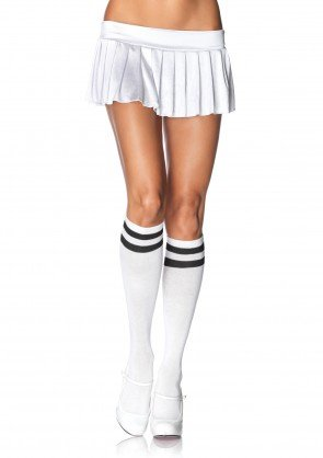 Leg Avenue 5522 ladies white athletic knee highs black double stripe top one size