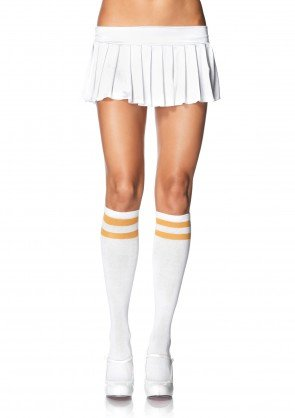 Leg Avenue 5522 ladies white athletic knee highs yellow double stripe top one size