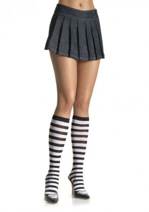Leg Avenue 5577 ladies black white striped knee highs one size