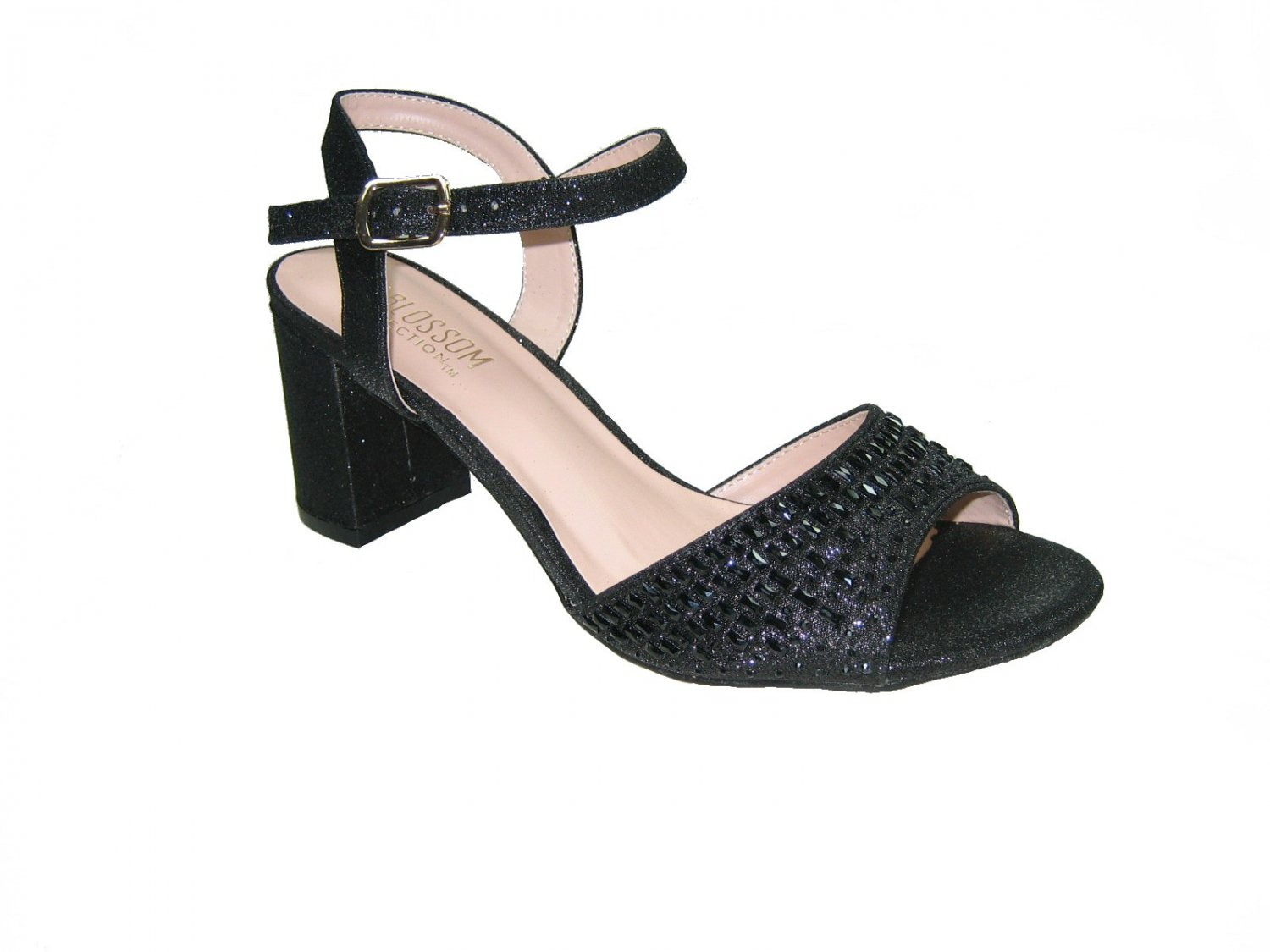 Blossom amber-9 strappy black sparkle shimmer 3 inch block heel party sandals size 7