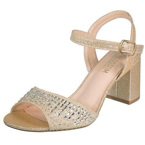 Blossom amber-9 strappy nude sparkle shimmer 3 inch nude heel party sandals size 5.5
