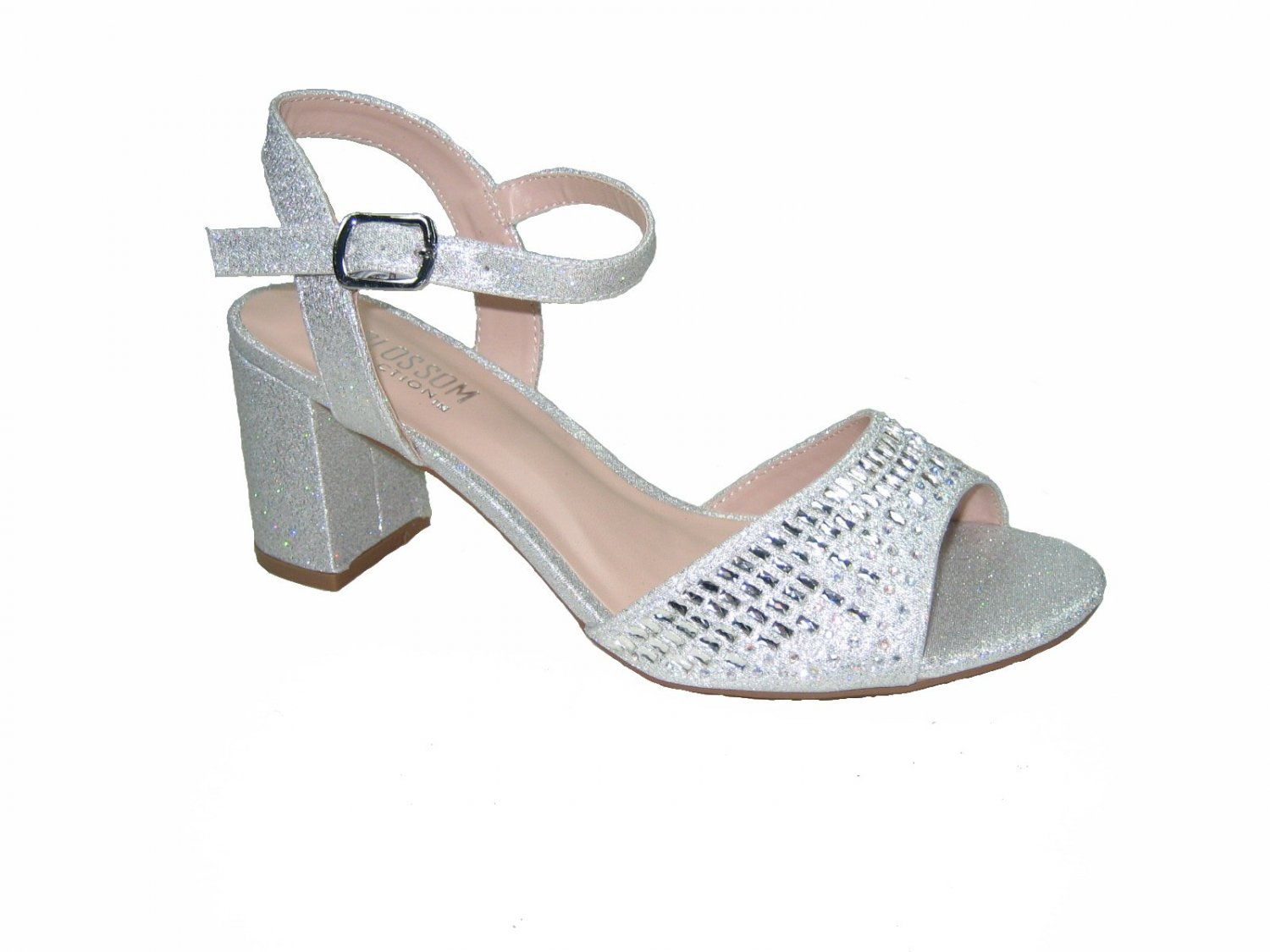 Blossom amber-9 strappy silver sparkle shimmer 3 inch nude heel party sandals size 5.5