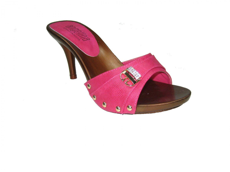 Blossom vote-55 one band slides mules 3.5 inch stiletto high heel sandals shoes fuchsia size 7