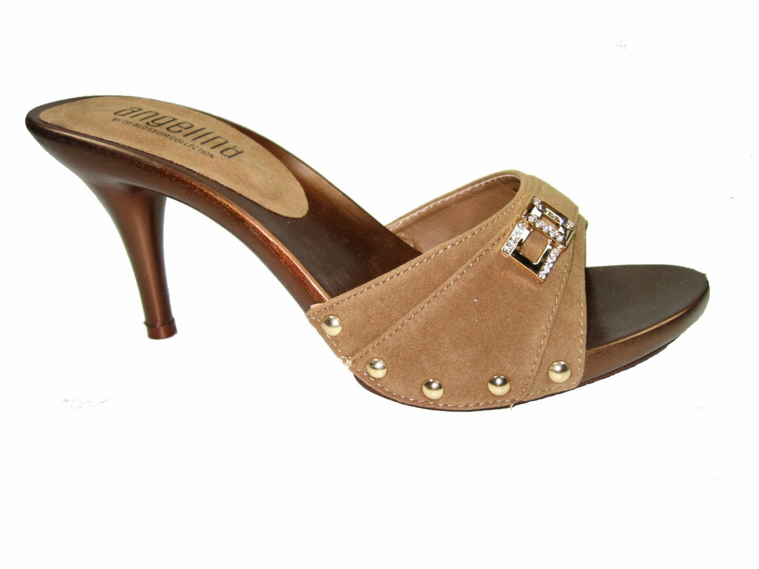 Blossom vote-56 one band slides mules 3.5 inch stiletto heel sandals vegan suede tan size 8.5