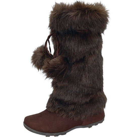 Blossom women's fashion brown faux suede mid-calf faux fur pom pom winter boots size 8