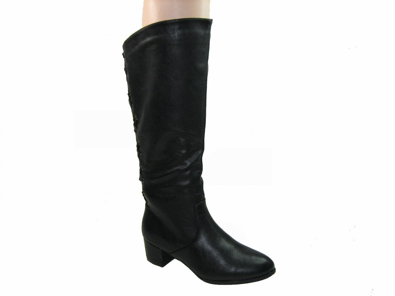 Blossom poppy-1 women's 2 inch chunky high heel knee high black boots size 9