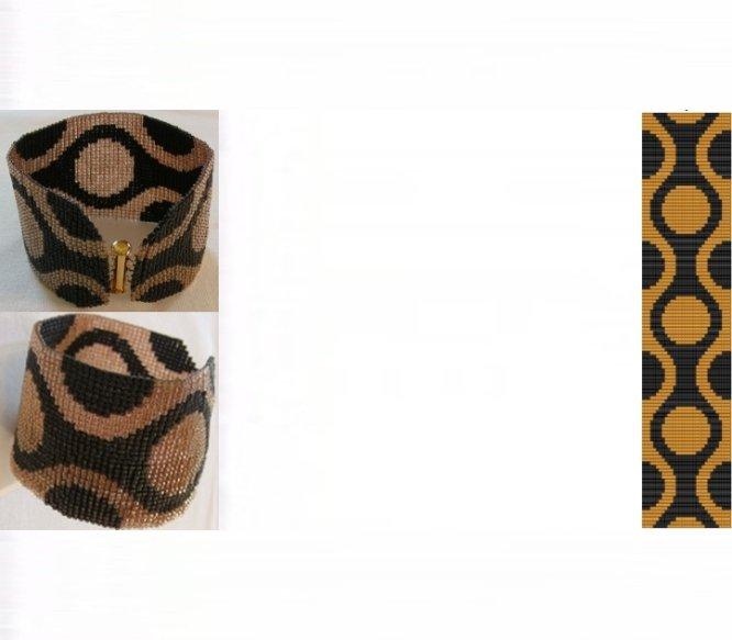 60s Retro Gold Cuff Bracelet - Loom Bead Pattern