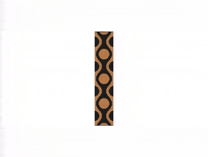 60s Retro Gold Cuff Bracelet - 1 Drop Odd Count Peyote Bead Pattern