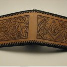 Men's Deluxe Wallet, Chestnut Tan, Black Lacing, Handtooled Leather, Western Floral, Mason W0007