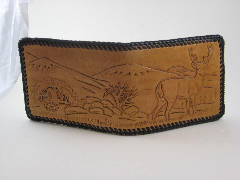 Men's Deluxe Wallet, Chestnut Tan, Black Lacing, Handtooled Leather, Deer Scene W0009