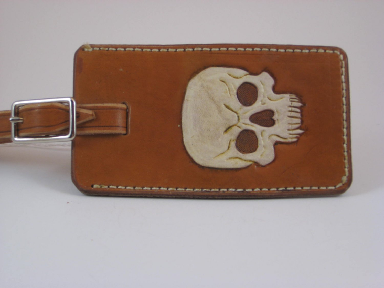 Luggage Tag, Black Antique Handtooled Leather, Skull Design L0004