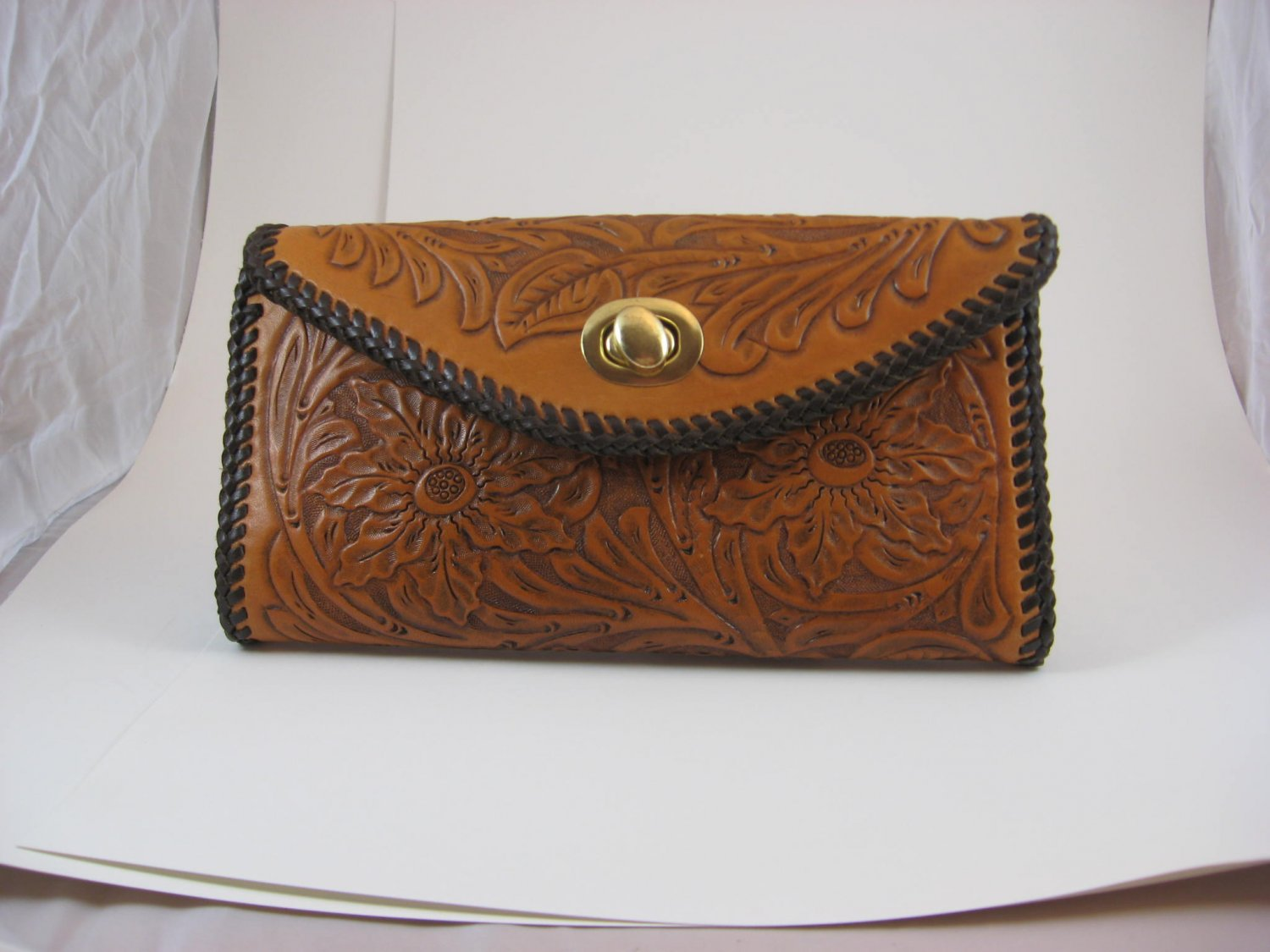 Phoenix Clutch Purse, Chestnut Tan, Brown Lacing, Handtooled Leather, Western Floral PU0002