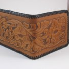 Men's Deluxe Wallet, Two Tone Brown, Black Lacing, Handtooled Leather, Western Floral W0011