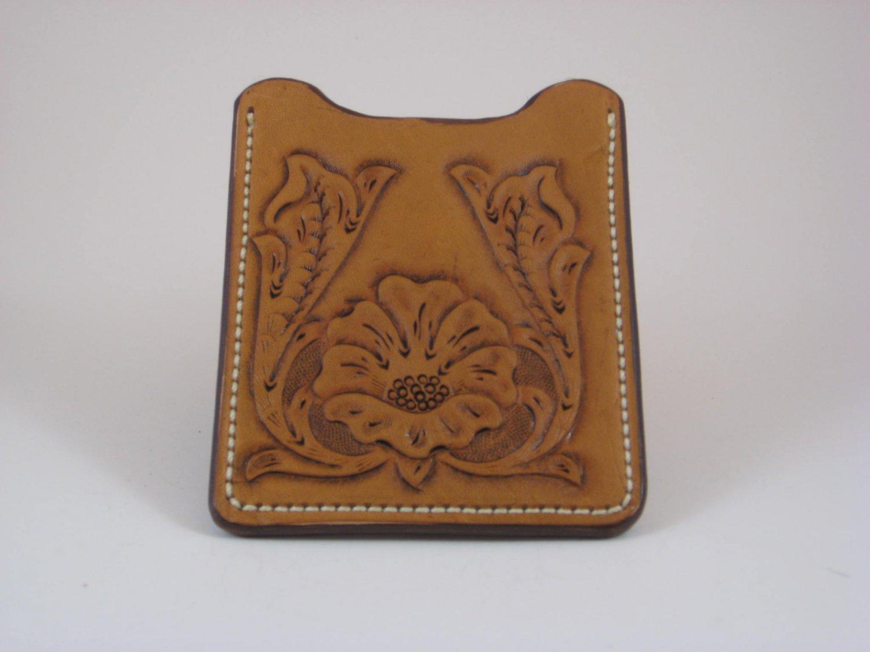 Front Pocket Wallet/Money Clip, Handtooled Leather, Western Floral WP0001